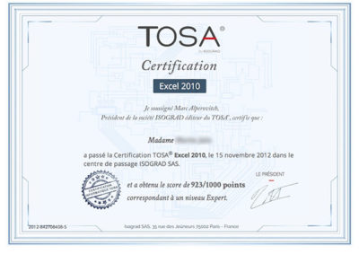 Certification TOSA EXCEL
